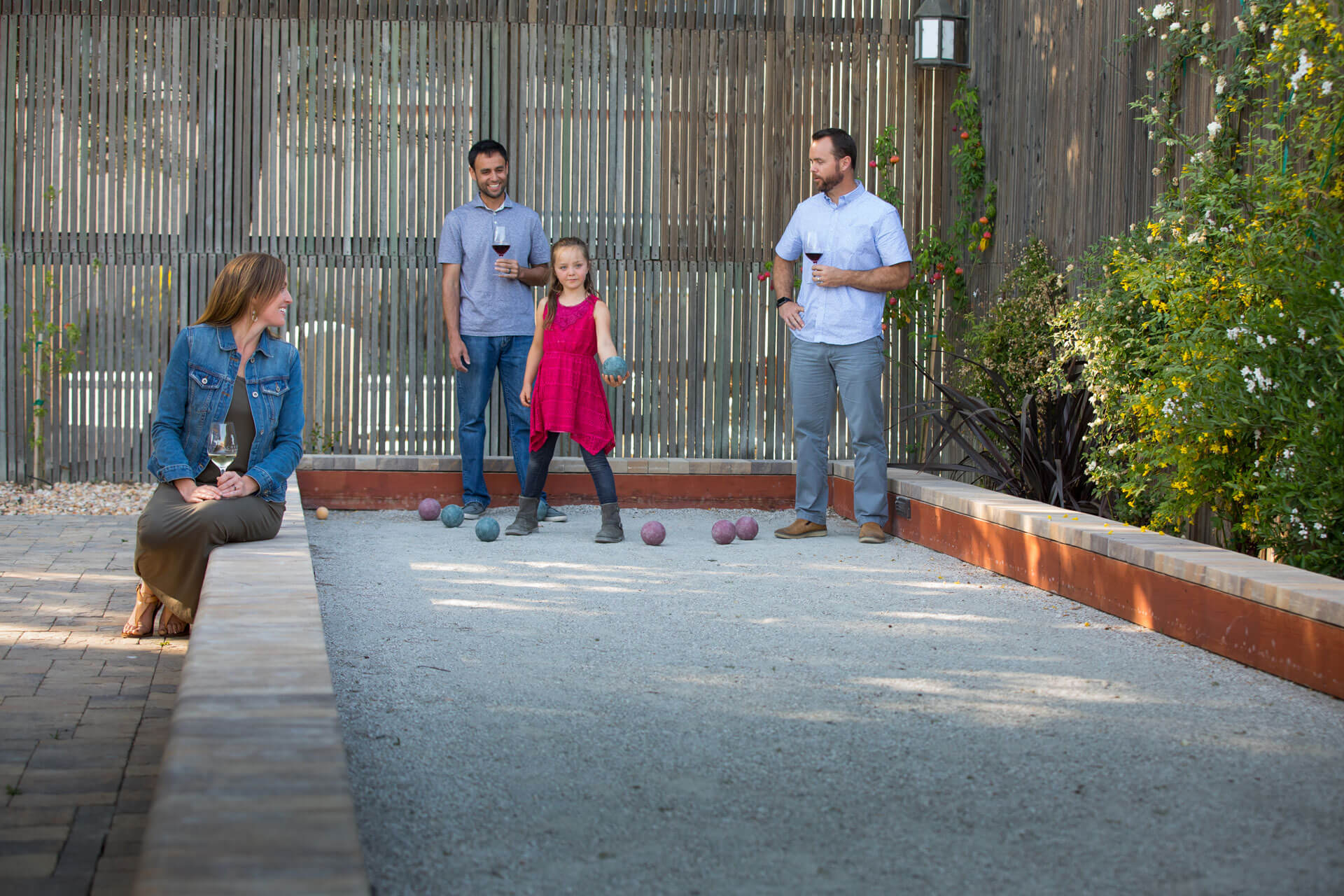 Play in the bocce court