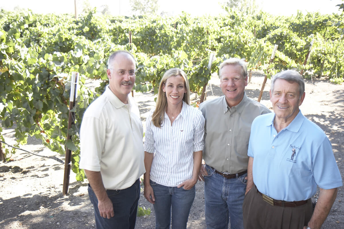 Gang of Four in front of the vineyard