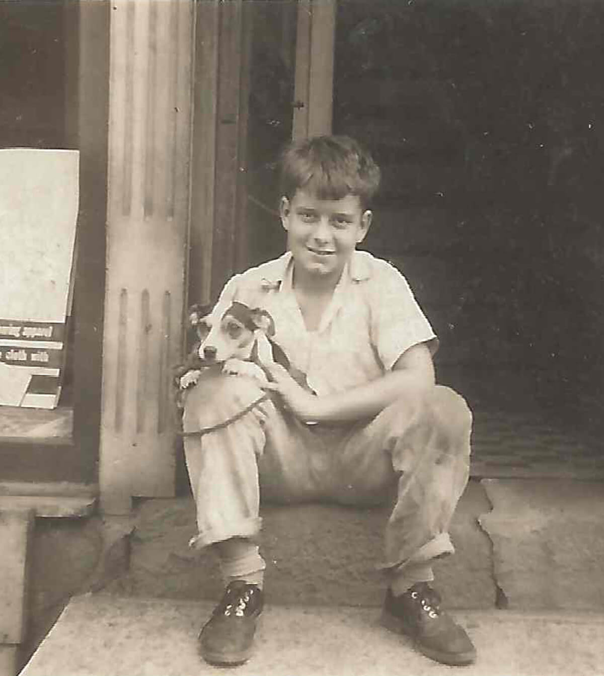 Young Al with dog